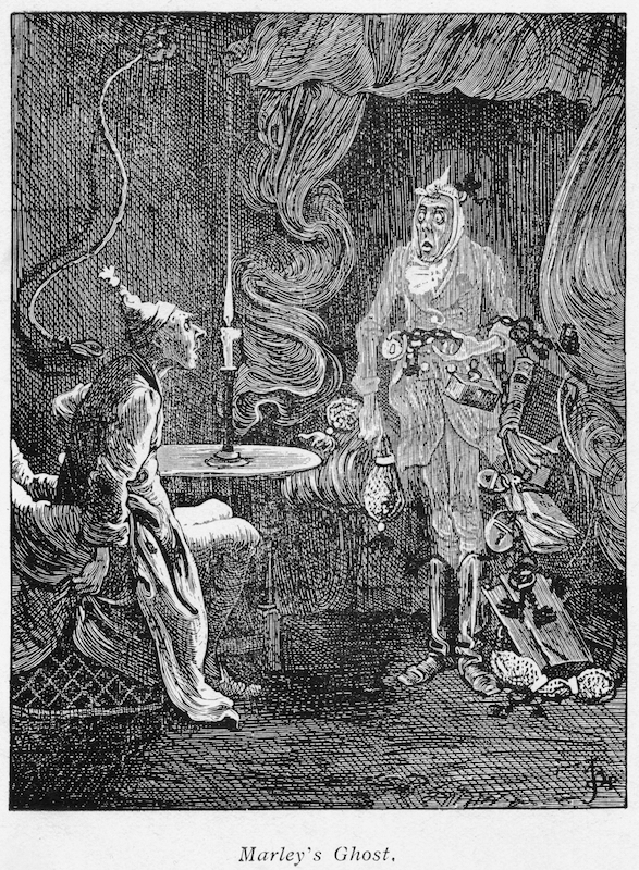 Marley's ghost appearing to Scrooge. Illustration for Charles Dickens (1812-1870) A Christmas Carol, London 1843-1844